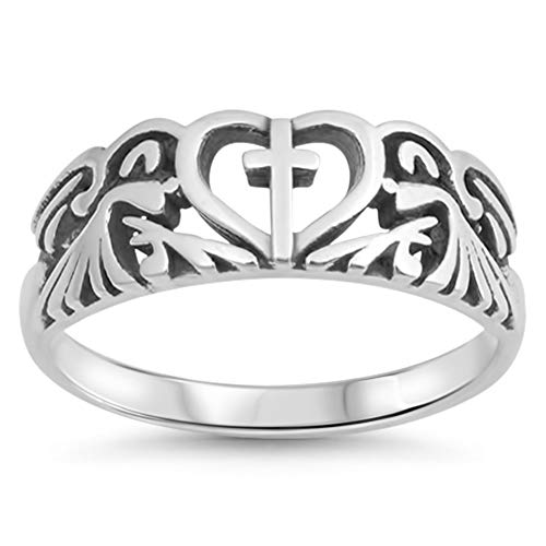 Oxidized Heart Cutout Cross Filigree Ring .925 Sterling Silver Band Size 5
