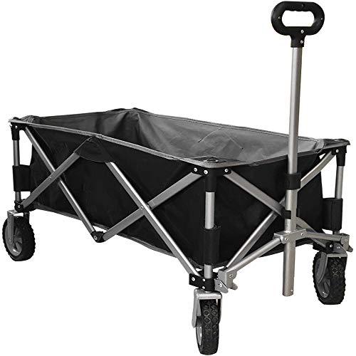 Eurmax Sports Collapsible Sturdy Steel Frame Garden Carts on Wheels Utility Beach Wagon Cart,Bonus 8x8Ft Picnics Mat (Black)