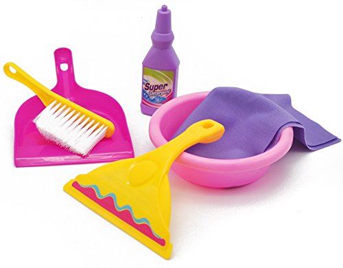 Little Treasures Child Dream Quality Cleaning Play Set Toy, Complete with Squeegee, Tub, Cloth, Super Detergent, Hand-Broom and Dustpan, Play Set for Children's Clean Playtime