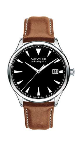 Movado Men's Heritage Stainless Steel Watch with a Printed Index Dial, Black/Brown/Silver (3650001)