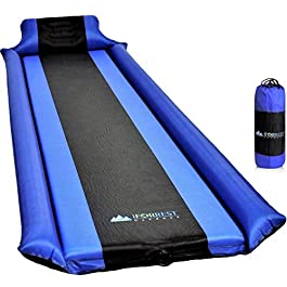 IFORREST Sleeping Pad with Armrest & Pillow – Protection of Rollover, Ultra-Comfortable Self-Inflating Camping Foam Air Mattress