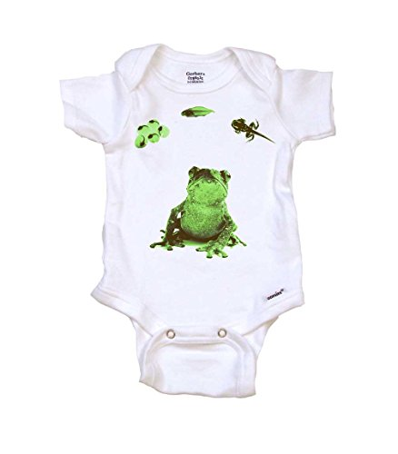(Lifecycle of A Frog Baby Onesie by Gerber, Newborn, Organic White)