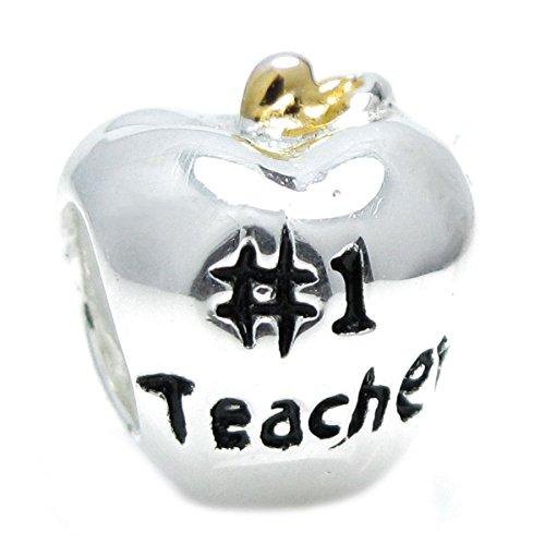 - Sterling Silver # 1 Teacher Apple Gold-Tone European Style Bead Charm