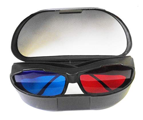 Jambar Red-Blue 3D Glasses with Glasses Case & Cleaning Cloth / Cyan Anaglyph Simple Style 3D Glasses 3D Movie/Video/Image/Books/Magazine