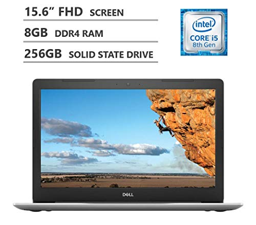 Dell Inspiron 15.6″ Full HD Screen Laptop, Intel Core i5-8250U Quad-Core Processor, 8GB Memory, 256GB Solid State Drive, Backlit Keyboard, HDMI, Wireless-AC, Bluetooth 4.1, Windows 10 Home, Silver