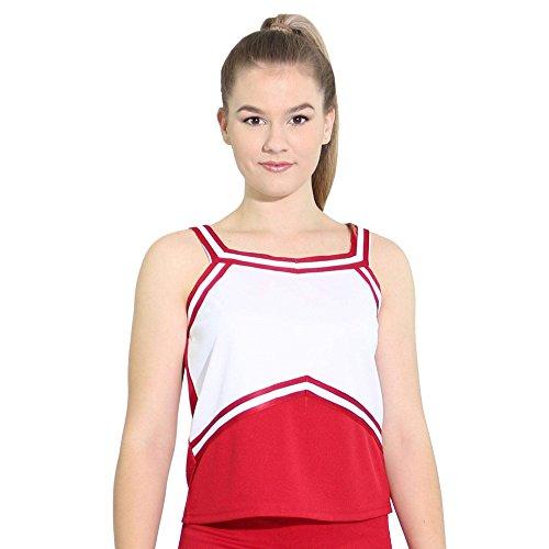 Danzcue Womens Sweetheart Cheerleaders Uniform Shell Top, Scarlet-White, X-Small