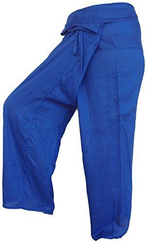 Thai Fisherman Pants Yoga bleu marine navy écharpe longue pantalons paréos douces