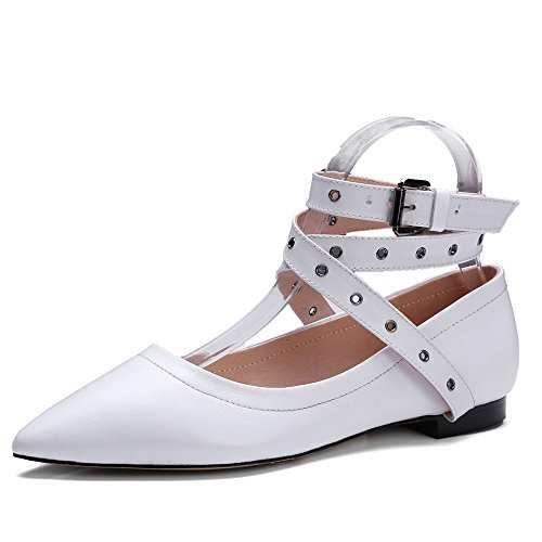 Strappy Handmade Nine Shoes Genuine Seven White Flats Dress Toe Pointy Leather Women's w0YBx60T