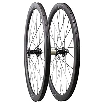 ICAN Carbono Cyclocross Bicicleta Ruedas Freno de Disco 40mm Clincher Tubeless Listo 15x100mm/12x142mm Shimano 10/11 Speed 1550g: Amazon.es: Deportes y aire ...