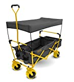 Creative Outdoor Distributor All-Terrain Collapsible Wagon with Shade Canopy (Gray/Yellow) - Use for Gardening, Tailgating, Beach Trips, Picnics, and More 900184