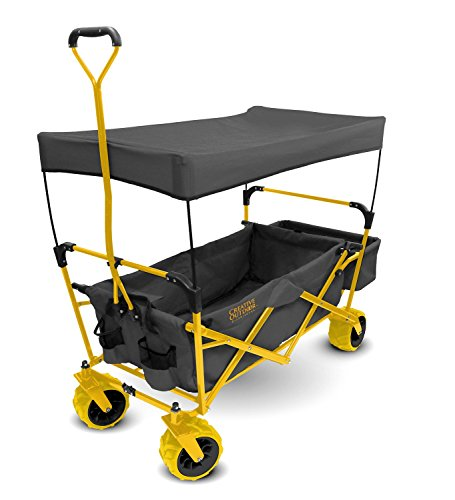 Creative Outdoor Distributor All-Terrain Collapsible Wagon with Shade Canopy (Gray/Yellow) – Use for Gardening, Tailgating, Beach Trips, Picnics, and More 900184 For Sale