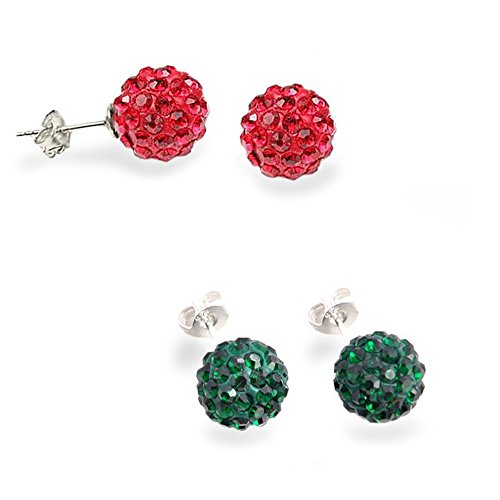 Ruby and Emerald Beadball Earring Combo Set 3.00 Carat Total Weight 1.50 Carat Each Yes It's Sterling Silver