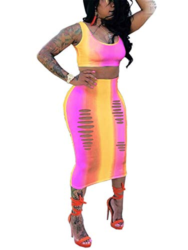 - Womens Summer Oversized Two Pieces Outfits Tie-Dyed Rainbow Striped Crop Tank Tops Shirt Mini Skirt Set Bandage Party Club Dress Rose XL