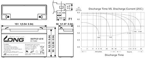 Kompatibler Accu NP 12-6 6V 12Ah wie 10Ah AGM Blei Akku wartungsfrei Batterie