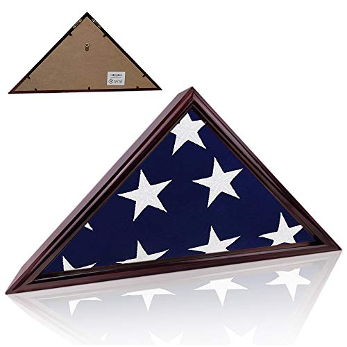 AtSKnSK Flag Display Case for Military Veteran Burial Funeral Flag 5' x 9' - Solid Wood