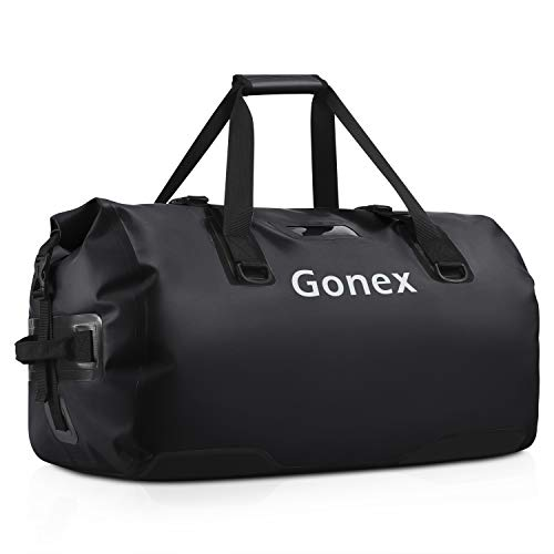 Gonex 60L Waterproof Duffel, Durable Travel Dry Duffle Bag for Kayaking, Boating, Rafting, Fishing, Outdoor Adventure Light Blue