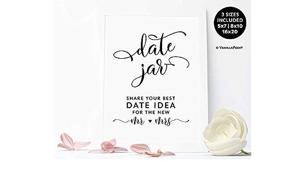 Amazon com: Arvier Date Jar Printable Sign Shower Date Jar Sign