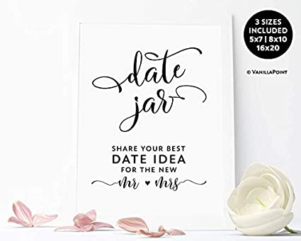 photograph relating to Date Night Jar Printable referred to as : Arvier Day Jar Printable Indication Shower Day Jar