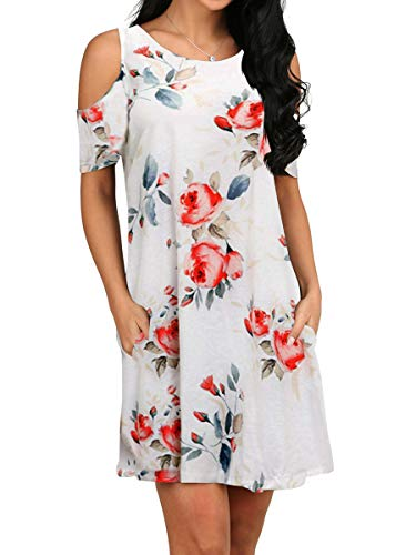 OFEEFAN Womens Off The Shoulder Casual Tunic Formal Dresses Swing T Shirt Rose White S