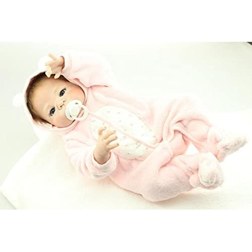 Nicery Reborn Baby Doll Renacer Bebé la Muñeca Simulación de vinilo duro de silicona 22 pulgadas 55cm Boca Magnética Natural Niña Niño Impermeable Bañarse Juguete Pink Animal