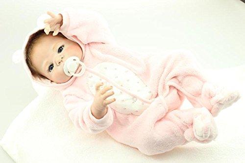 Nicery Reborn Baby Doll Puppe Harter Simulation Silikon Vinyl 22 Zoll 55 cm magnetisch Mund lebensechte Junge Mädchen Spielzeug Girl Toy Pink Animal