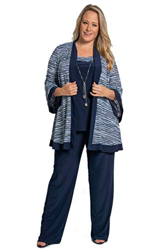 R&M Richards Mother of The Bride Plus Size Pant Suit Navy