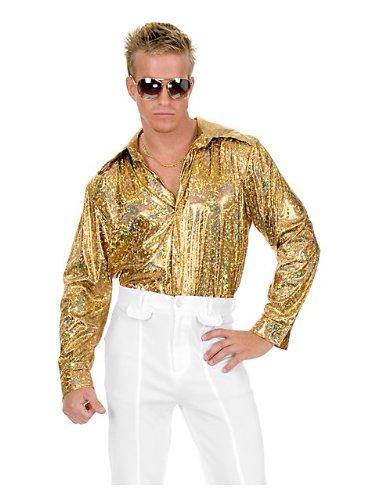 Mens Plus Size Disco Gold Glitter Shirt 3X (Disco Shirt Gold Glitter)