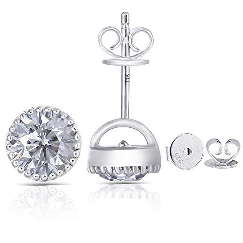 - DovEggs 14K White Gold Post 2ct 6.5mm Grey Tinted Moissanite Stud Earrings Bezel Set Earring Platinum Plated Silver Push Back for Women Men