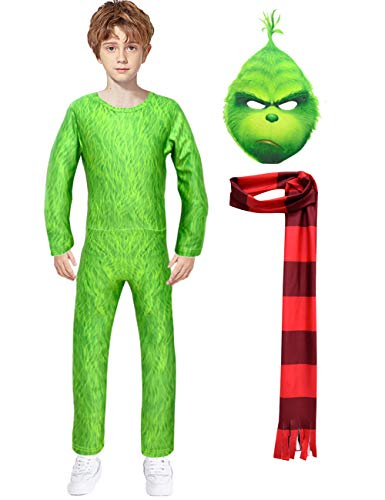 YuDanae 3D The Grinch Costume & Mask & Scarf for Kids Boys Girls,M(Height 51.2