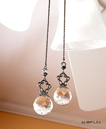 Set of 2 Vintage-Style Jeweled Ceiling Fan Chain Pulls CLEAR Elegant (Pulls Decorative Chain)