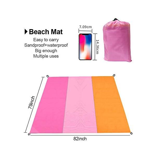 MMTX Portatile Impermeabile Coperta da Spiaggia, 210X200cm Telo Mare Antisabbia Tappetino Campeggio Accessori con 5… 2 spesavip