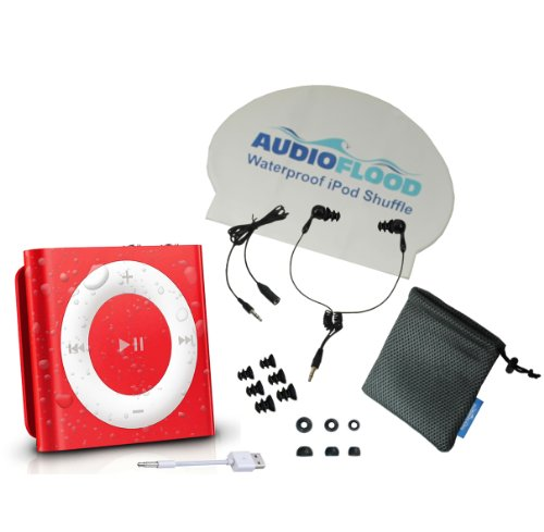 AudioFlood Waterproof Apple iPod Shuffle with True Short Cord Headphones - Red (Apple Ipod Red)