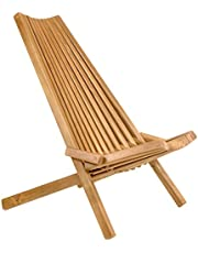 CleverMade Tamarack Folding Wooden Outdoor Chair - Foldable Low Profile Acacia Wood Lounge Chair for The Patio, Porch, Deck, Lawn, Garden or Home Furniture - No Assembly Required