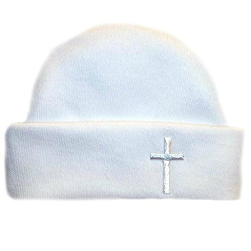 Jacqui's Unisex Baby Hat with White Cross, 3-6 Months -