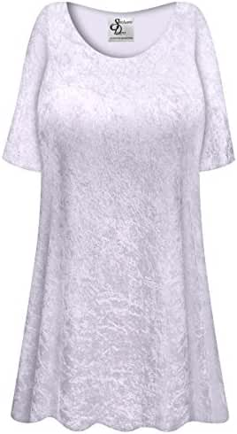 Very Pale Lavender Crush Velvet Plus Size Supersize Extra Long A-Line Top