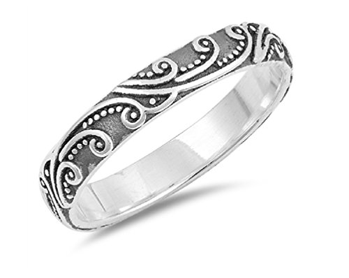- CloseoutWarehouse Oxidized Sterling Silver Filigree Beaded Band Ring Size 10