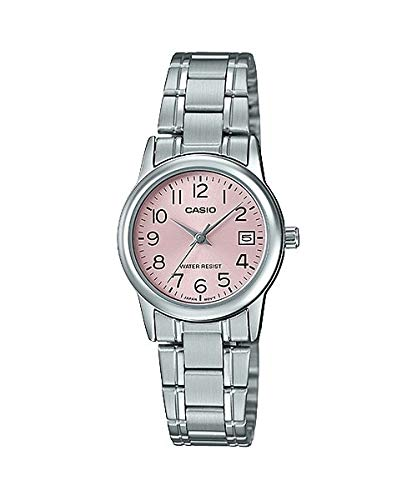 Casio #LTP-V002D-4B Women's Standard Stainless Steel Pink Dial Date Watch (Pink Stainless Dial)