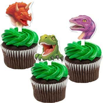 Creative Converting Dinosaur Cupcake Toppers Party Supplies Multicolor