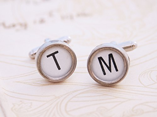 Typewriter Key Cufflinks,Creative Cufflinks,Art Cufflinks,Silver Jewelry Cufflinks,Shirt Cufflinks,Glass Cabochon Cufflinks,Art Picture Cufflinks,Personalized Cufflinks
