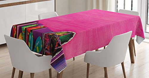 Mexican Decorations Tablecloth by Ambesonne, View of Folkloric Serape Blanket Charro Hat and Music Instruments , Dining Room Kitchen Rectangular Table Cover, 60 W X 84 L Inches, Fuchsia Purple