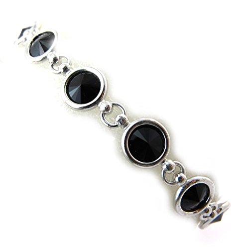 """Lily-Crystal [N3508] - Bracelet Argent """"Sissi"""" noir argenté (Crystal)"""