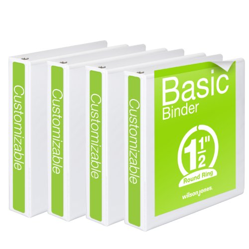 Wilson Jones 1-1/2 Inch 3 Ring Binder, Basic Round Ring View Binder, White, 4 Pack (W70362-34WPP)