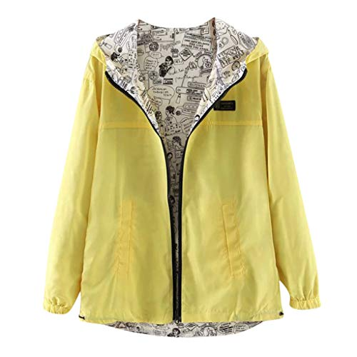 - ALLYOUNG Women Coat Casual Solid Color Print Wear Both Long Sleeve Hooded Jacket (Yellow, S)