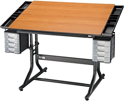 Alvin Craftmaster Hobby - Alvin CM48-3-WBR CraftMaster II Deluxe Art, Drawing, and Hobby Table Black Base with Cherry Woodgrain Top with Rounded Corners; One hand tilt mechanism adjusts tabletop from horizontal 0° to 30°