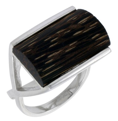 w// Ancient Wood Inlay wide Sterling Silver Rectangular Ring 5//8 16mm size 10