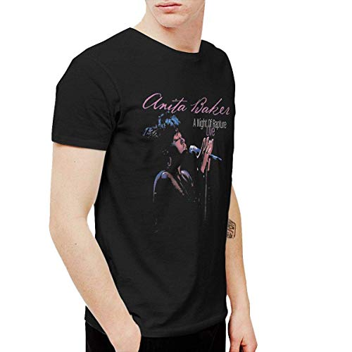 Mekoe Mens Anita Baker A Night of Rapture Live Classic Outdoor Black T-Shirt Short Sleeve,Black,X-Large
