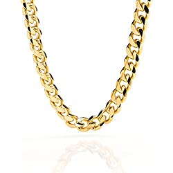 Cuban Link Chain 9MM, Round, 24K Gold Overlay Fashion Jewelry Necklaces, Resists Tarnishing, LIFETIME REPLACEMENT GUARANTEE, 36 inches