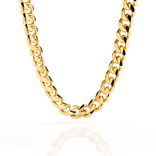 Cuban Link Chain 9MM, Round, 24K Gold Overlay Fashion Jewelry Necklaces, Resists Tarnishing, LIFETIME REPLACEMENT GUARANTEE, 24 Inches - 24 Carat Gold Chain