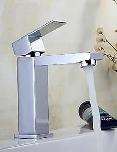 Cuadrado tipo cascada para lavabo grifos latón cromado grifo contemporáneo