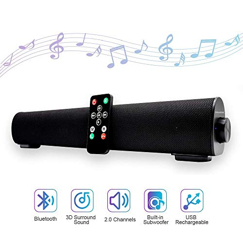 Sound bar, Soundbar Portable Wireless Bluetooth and Dual Bass Ports Wired for Home Theater Surround Sound with Built-in Subwoofers for TV/PC/Phones/Tablets (16.9 Inch, Remote Control)
